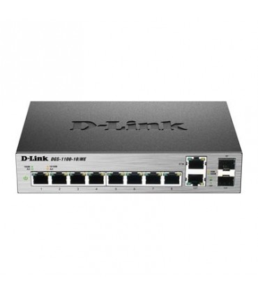 DGS-1100-10 8-Port 1000Base-T Easy Smart gigabit Switch With 2 Combo 100/1000 Base-T/SFP Ports, IPv6 Support